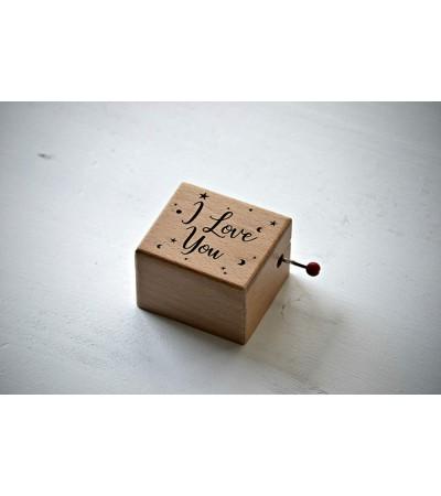 Caja de música de madera I love you