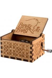 Caja de música de madera Beauty and the Beast